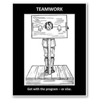 teamwork get with the program or else poster